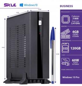 MINI COMPUTADOR BUSINESS B100 - CELERON DUAL CORE J1800 2.41GHZ 4GB DDR3 SODIMM SSD 120GB HDMI/VGA FONTE 60W WIN 10 PRO - 1