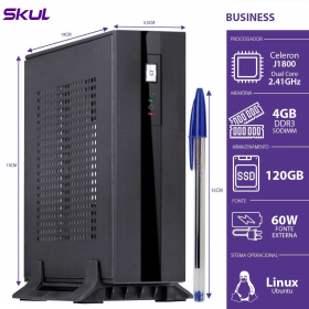 MINI COMPUTADOR BUSINESS B100 - CELERON DUAL CORE J1800 2.41GHZ 4GB DDR3 SODIMM SSD 120GB HDMI/VGA FONTE EXT. 60W - 1