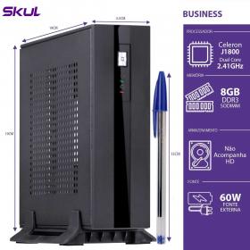 MINI COMPUTADOR BUSINESS B100 - CELERON DUAL CORE J1800 2.41GHZ 8GB DDR3 SODIMM SEM HD HDMI/VGA FONTE 60W - 1