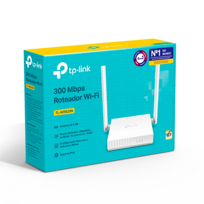 Roteador TP-Link Wireless 300Mbps IPV6 2 portas 10/100Mbps 2 Ant Fixas 5dBi TL-WR829N