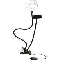 SUPORTE TIPO RING LIGHT AJUSTÁVEL COM CLIP FIXADOR USB AC369 - 1