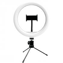 SUPORTE TIPO RING LIGHT LIVESTREAM 10 POL. COM TRIPÉ AJUSTÁVEL USB AC370 - 1