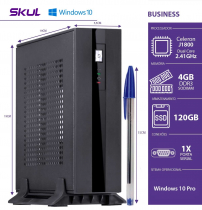 MINI COMPUTADOR BUSINESS B100 - CELERON DUAL CORE J1800 2.41GHZ 4GB DDR3 SODIMM SSD 120GB 1X SERIAL FONTE 60W WIN 10 PRO - 1