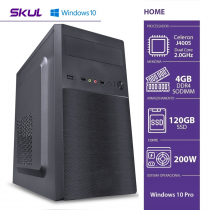 COMPUTADOR HOME H100 POWERED BY ASUS - CELERON DUAL CORE J4005 4GB DDR4 SSD 120GB HDMI/VGA FONTE 200W WINDOWS 10 PRO - 1