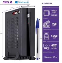 MINI COMPUTADOR BUSINESS B100 POWERED BY ASUS - CELERON DUAL CORE J4005 4GB DDR4 SSD 60GB 1XSERIAL FONTE 60W WIN 10 PRO - 1