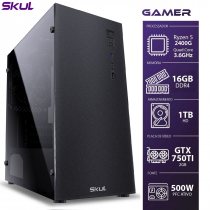COMPUTADOR GAMER 5000 - RYZEN 5 2400G 3.6GHZ MEM. 16GB DDR4 HD 1TB GTX750TI 2GB FONTE 500W - 1
