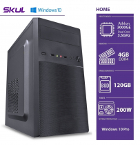 COMPUTADOR HOME H200 - ATHLON DUAL CORE 3000G 3.5GHZ 4GB DDR4 SSD 120GB HDMI/VGA FONTE 200W WINDOWS 10 PRO - 1