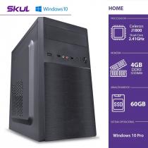 COMPUTADOR HOME H100 - CELERON DUAL CORE J1800 2.41GHZ 4GB DDR3 SODIMM SSD 60GB HDMI/VGA FONTE 200W WINDOWS 10 PRO - 1