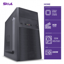 COMPUTADOR HOME H100 - CELERON DUAL CORE G5905 3.5GHZ MEM. 8GB DDR4 SEM HD/SSD FONTE 200W - 1