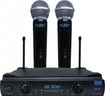 MICROFONE SEM FIO DE MAO UHF LS-902 HT/HT DUPLO PRETO - 1