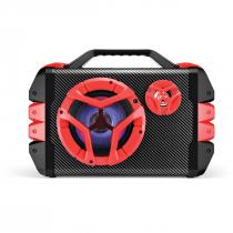 CAIXA MULTIUSO 6 EM 1 USB/SD/FM/BT 100W, COM BATERIA INTERNA, CONTROLE REMOTO E MICROFONE SP250