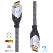 CABO HDMI 2.0 4K ULTRA HD 3D CONEXÃO ETHERNET BLINDADO EM NYLON 2 METROS - H20B-2 - 1