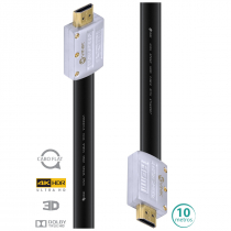 CABO HDMI 2.0 4K ULTRA HD 3D CONEXÃO ETHERNET FLAT COM CONECTOR DESMONTÁVEL 10 METROS - H20FL-10