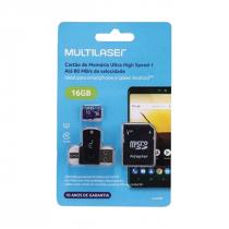 CARTÃO DE MEMÓRIA 4X1 ULTRA HIGH SPEED ATÉ 80 MB/S UHS1 16GB +ADAPTADOR SD USB DUAL MC150 CLASSE 10 - 1