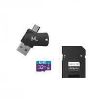 CARTÃO DE MEMÓRIA 4X1 ULTRA HIGH SPEED ATÉ 80 MB/S UHS1 32GB +ADAPTADOR SD USB DUAL MC151 CLASSE 10 - 1