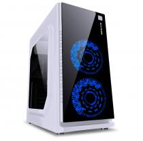 GABINETE GAMER VX GAMING CRATER COM JANELA ACRÍLICA BRANCO COM 2 X FAN FRONTAL 120MM 15 PONTOS DE LED AZUL - 1