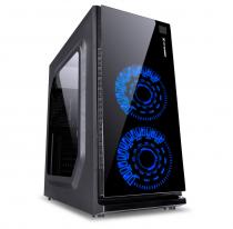 GABINETE GAMER VX GAMING CRATER COM JANELA ACRÍLICA PRETO COM 2 X FAN FRONTAL 120MM 15 PONTOS DE LED AZUL - 1