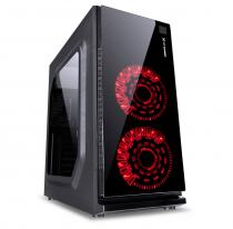 GABINETE GAMER VX GAMING CRATER COM JANELA ACRÍLICA PRETO COM 2 X FAN FRONTAL 120MM 15 PONTOS DE LED VERMELHO - 1