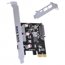 PLACA USB COM 2 USB 3.0 + USB TIPO C / TYPE C 3.1 PCI EXPRESS PCI-E X1 COM LOW PROFILE - P2U30C31-LP - 1