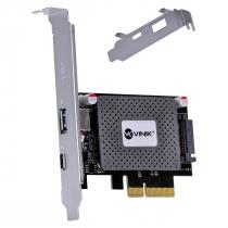 PLACA USB COM USB 3.0 + USB TIPO C / TYPE C 3.1 PCI EXPRESS PCI-E X4 COM LOW PROFILE - PU30C31-LP - 1