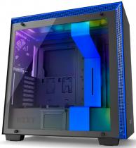 GABINETE H700I MATTE BLACK/BLUE - CONTROLE RGB - PAINEL DE VIDRO TEMPERADO - GERENCIAMENTO DE CABOS - CA-H700W-BL