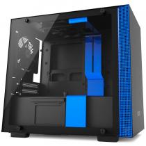 GABINETE H200 BLACK/BLUE - MINI-ITX - PAINEL DE VIDRO TEMPERADO - EM AÇO - CA-H200B-BL