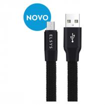 CABO MICRO USB FLAT RETRÁTIL NYLON FAST DATA 1 METRO EACDOR11-1 PRETO