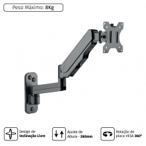 SUPORTE A GÁS PARA MONITOR DE PAREDE 17''-32'' VESA 100X100 PLMSM01A - 1