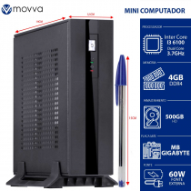 MINI COMPUTADOR INTEL I3-6100 3.7GHZ MB GIGABYTE H110TN-M MEM. 4GB DDR HD 500GB HDMI/DISPLAYPORT FONTE EXTERNA 60W - 1