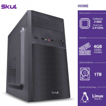 COMPUTADOR HOME H100 - CELERON DUAL CORE J1800 2.41GHZ 4GB DDR3 SODIMM HD 1TB HDMI/VGA FONTE 200W - 1