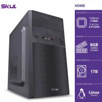 COMPUTADOR HOME H100 - CELERON DUAL CORE J1800 2.41GHZ 8GB DDR3 SODIMM HD 1TB HDMI/VGA FONTE 200W - 1