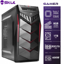 COMPUTADOR GAMER 3000 - R3 3200G 3.6GHZ MEM. 8GB DDR4 HD 1TB RX 570 4GB FONTE 600W - 1