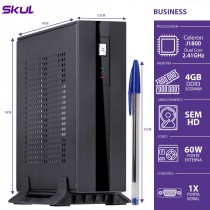 MINI COMPUTADOR BUSINESS B100 - CELERON DUAL CORE J1800 2.41GHZ 4GB DDR3 SODIMM SEM HD PORTA SERIAL FONTE EXT. 60W - 1