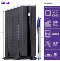 MINI COMPUTADOR BUSINESS B100 - CELERON QUAD CORE J4105 1.50GHZ 8GB DDR4 SODIMM SSD 120GB PORTA SERIAL FONTE EXT.60W - 1