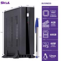 MINI COMPUTADOR BUSINESS B100 - CELERON DUAL CORE J4005 2.0GHZ 4GB DDR4 SODIMM SSD 60GB 4XUSB 3.0 2X USB FONTE EXT. 60W - 1