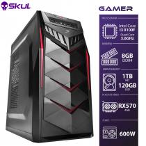 COMPUTADOR GAMER 3000 - I3 9100F 3.6GHZ 9ª GER. MEM. 8GB DDR4 SSD 120GB HD 1TB RX 570 4GB FONTE 600W - 1