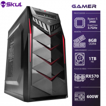 COMPUTADOR GAMER 5000 - RYZEN 5 3400G 3.7GHZ MEM. 8GB DDR4 HD 1TB RX 570 4GB FONTE 600W - 1