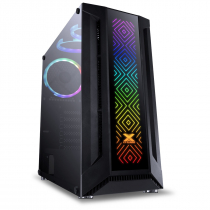 GABINETE GAMER EATX VX GAMING SAGITARIUS COM VIDRO TEMPERADO PRETO FRONTAL COM 3 FANS E FITA LED RGB - 1