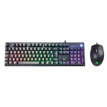 KIT TECLADO E MOUSE USB GAMER KM300F PRETO - 1