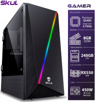 COMPUTADOR GAMER 1000 - PENTIUM G5400 3.7GHZ 8ª GER. MEM. 8GB DDR4 SSD 240GB RX 550 4GB FONTE 450W - 1