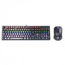 KIT TECLADO E MOUSE GAMING MECHAN GM200 PRETO - 1