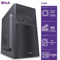 COMPUTADOR HOME H100 - CELERON QUAD CORE J4105 1.50GHZ MEM 4GB DDR4 SODIMM SEM HD/SSD HDMI/VGA FONTE 200W - 1