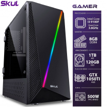COMPUTADOR GAMER 3000 - I3 9100F 3.6GHZ 9ª GER. MEM. 8GB DDR4 SSD 120GB HD 1TB GTX 1050TI 4GB FONTE 500W - 1
