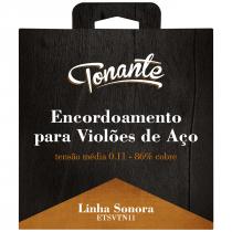ENCORDOAMENTO PARA VIOLÃO DE AÇO - SONORA - TENSÃO NORMAL 0.11 - 86% COBRE - ETSVTN11 - 1