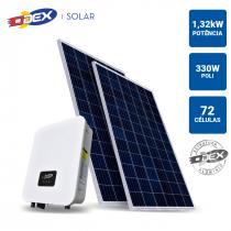 GERADOR SOLAR 1,32KWP INVERSOR ODEX 3KWP 4 PAINEIS 330W SB ODEX TELHA FIBROCIMENTO MADEIRA - 1