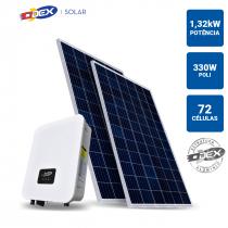 GERADOR SOLAR 1,32KWP INVERSOR ODEX 3KWP 4 PAINEIS 330W ODEX TELHA METALICA - 1