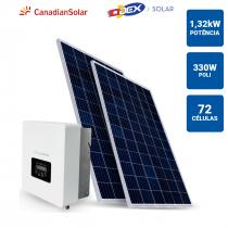 GERADOR SOLAR 1,32KWP INVERSOR CANADIAN SOLAR 3KWP 4 PAINEIS 330W ODEX SB SEM ESTRUTURA - 1