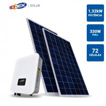 GERADOR SOLAR 1,32KWP INVERSOR ODEX 3KWP 4 PAINEIS 330W ODEX SB SEM ESTRUTURA - 1