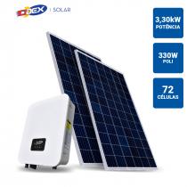 GERADOR SOLAR 3,3KWP INVERSOR ODEX 3KWP 10 PAINEIS 330W ODEX SB SEM ESTRUTURA - 1