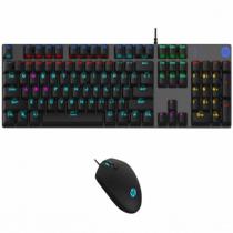 KIT TECLADO E MOUSE GAMER COM FIO USB MEMBRANA COM LED RGB GM300 PRETO - 1